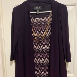10p Dress with gold and purple necklace
